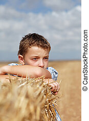 portrait, garçon, fond, rural