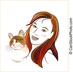 portrait ginger cat  and  young girl