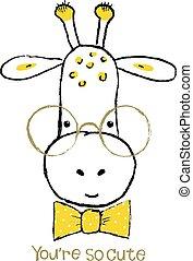 portrait, girafe, dessiné, main, mignon