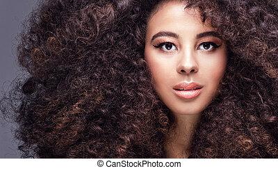 portrait, girl, afro., beauté