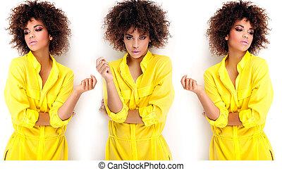 portrait, girl, afro., jeune