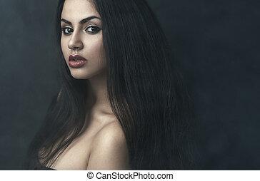 portrait, girl, brouillard, beau