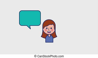 portrait girl cartoon smiling speech bubble animation hd