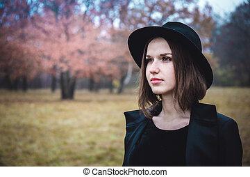 portrait, girl, chapeau noir