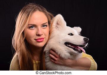portrait, girl, chien