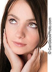 portrait, girl, closeup, joli