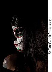 portrait, girl, crâne, sucre