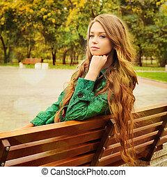 portrait, girl, extérieur, park.