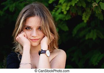 portrait, girl, figure, mains