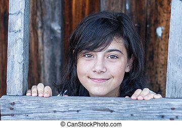 portrait, girl, foncé-d'une chevelure, village., jeune