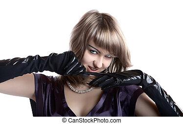 portrait, girl, gants, isolé