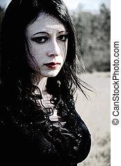 portrait, girl, gothique, triste