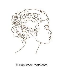 portrait, girl, graphique, linéaire, africaine