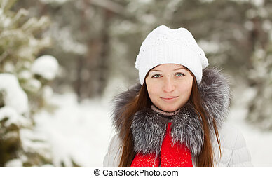 portrait, girl, hiver