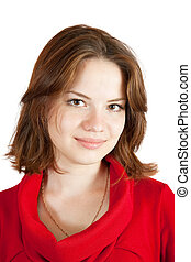 Portrait girl in red dress