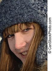 portrait, girl, jeune