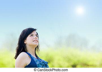 portrait, girl, jeune, heureux
