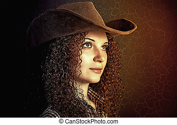 portrait, girl, joli, bouclé, cow-boy