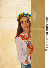 portrait, girl, joli, ukrainien