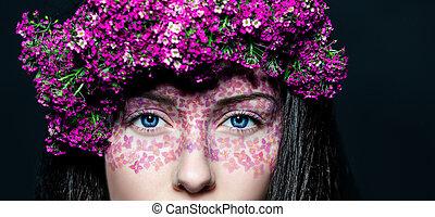 portrait, girl, maquillage, fleurs, créatif