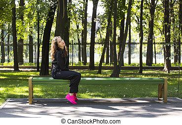 portrait, girl, parc