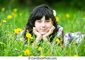 portrait, girl, parc, jeune, joli