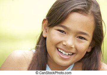 portrait, girl, parc, jeune