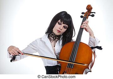 portrait, girl, séduisant, violoncelle, jouer