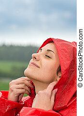 portrait, girl, sentiment, jeune, pluie