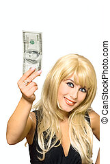 Portrait girl show dollar