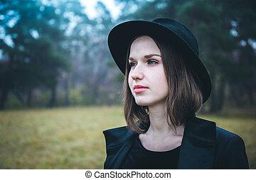 portrait, girl, sombre, forêt