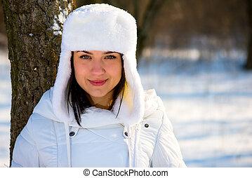 portrait, girl, temps, hiver, beau