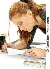 portrait, girl, travail, architecte