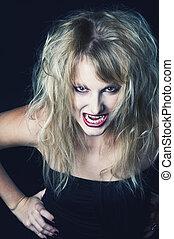 portrait, girl, vampire, blonds