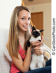 Portrait girl with cat