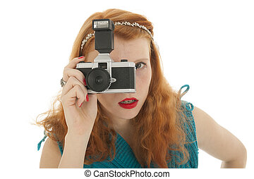 Portrait girl with photo camera and red hair - Portrait...
