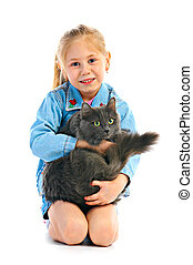 portrait girlie with cat
