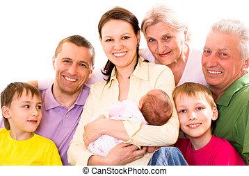 portrait, grand, famille