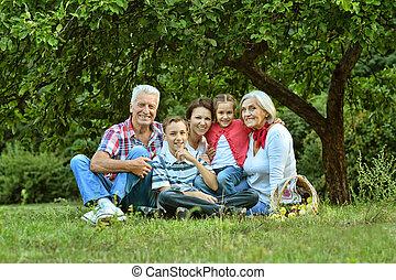 portrait, grand, famille, reposer