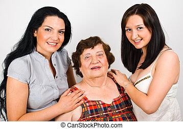 portrait, grand-mère, petite-filles
