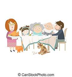 portrait, grand, table, famille, séance