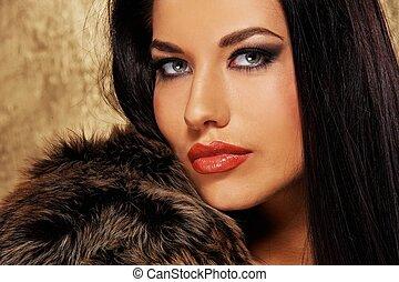 portrait, gros plan, brunette, séduisant, femme