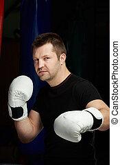 portrait, gros plan, mâle, boxeur