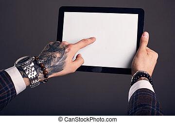 portrait, gros plan, tablette, mains