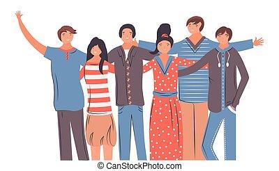 portrait, groupe, étudiants, heureux, école, ensemble, ados, amis, amitié, stand