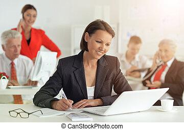portrait, groupe, gens, réussi, business