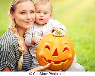 portrait, halloween, jour, famille