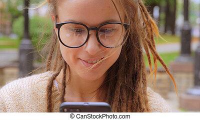 portrait happy girl use mobile