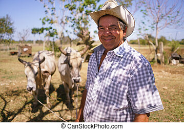 Portrait Happy Man Farmer At Work With Ox Looking At Camera...
