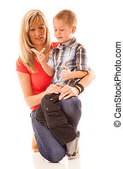 Portrait happy mature mother with child 6 years boy isolated